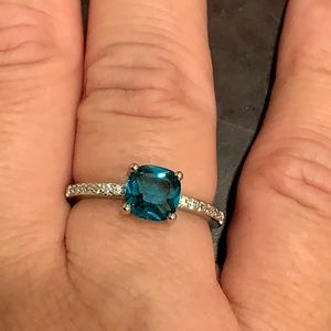 New! Sterling Silver/Blue Square Stone Ring Size 8